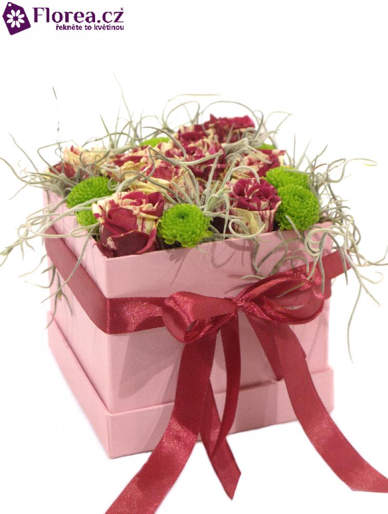 Krabička květin růžová ELECTRA 12x12x11cm