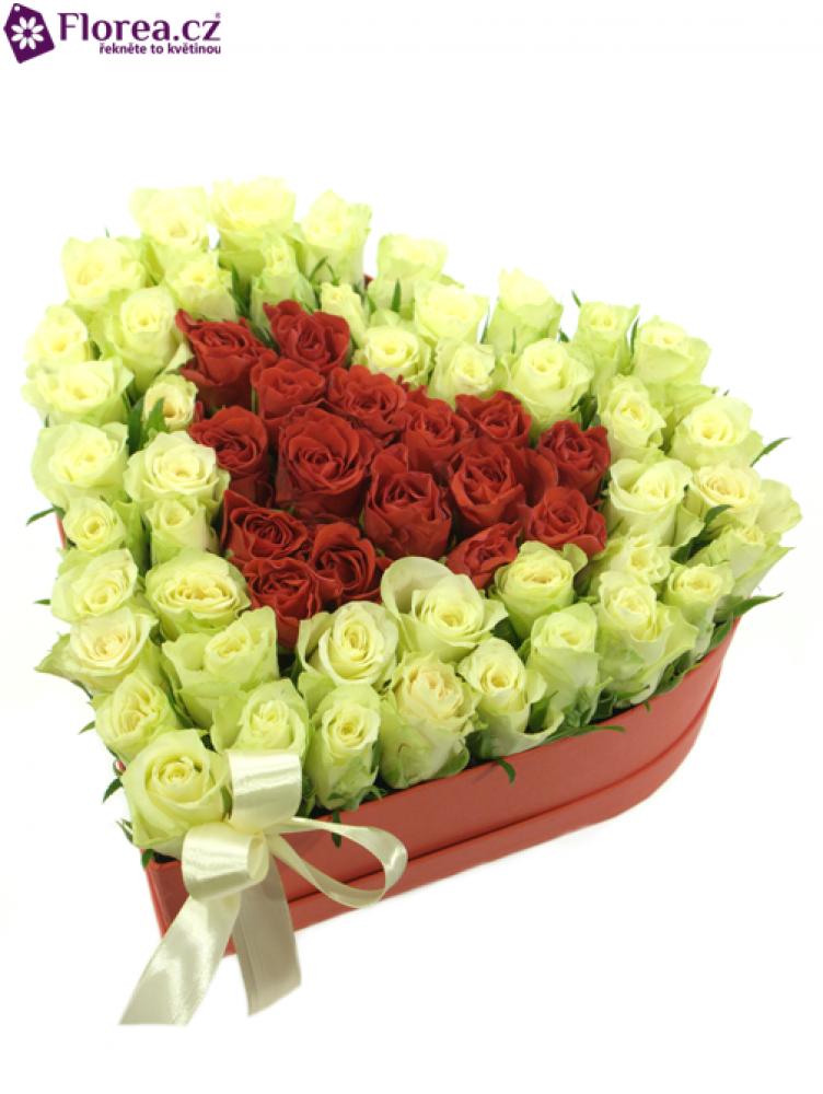 Krabička růží srdce červené HERMIONE 26/9cm