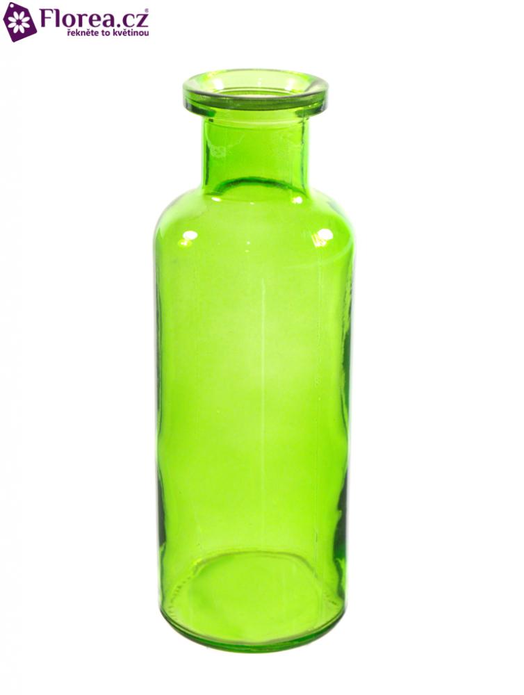 Skleněná váza BOTTLE v21cm-zelená