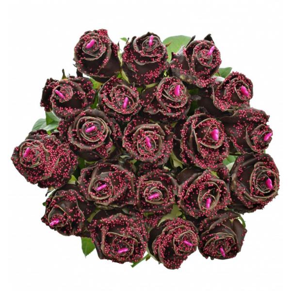 Kytice čokoládových růží Pearl