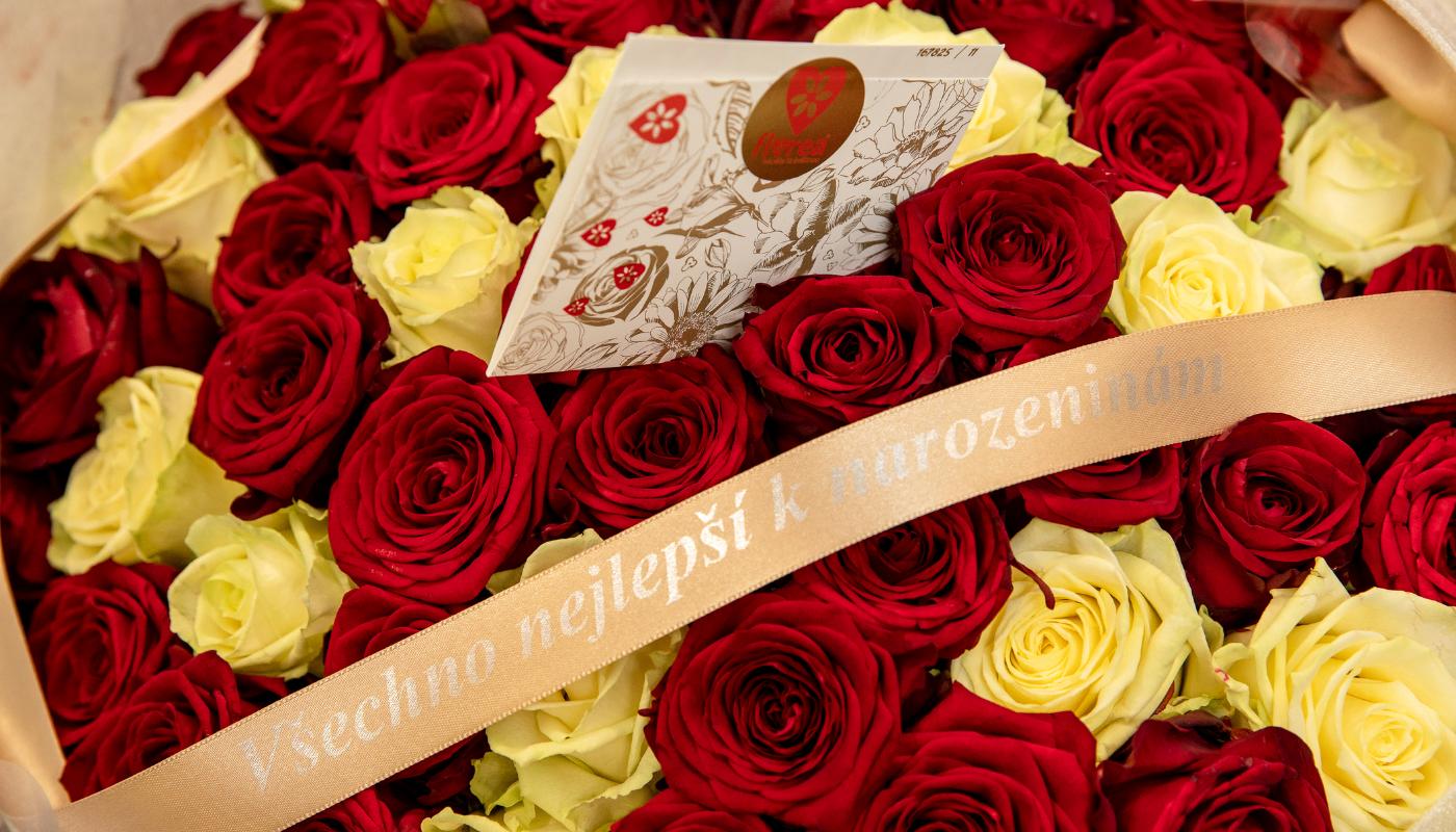 Přání k narozeninám a barevné růže