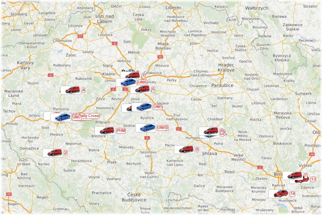 Mapa GPS sledování rozvozu květin Florea