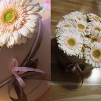 Doručená květinová krabička z gerber