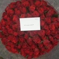 Kytice 100 červených růží se vzkazem