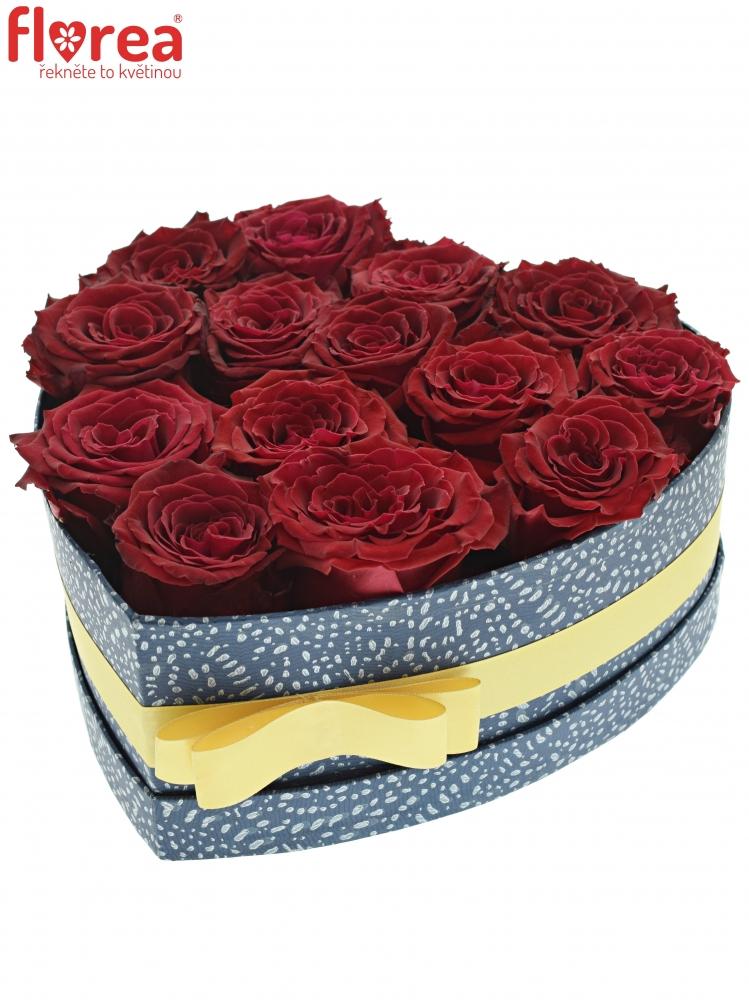 2a0746d9d Krabička červených růží ABBA modrá 24x10cm | Florea