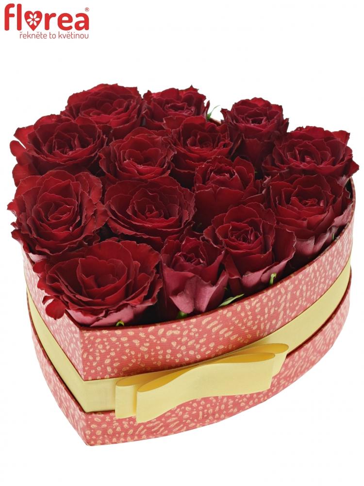 125366c9b Krabička růží MADAM RED červená 19x9cm | Florea