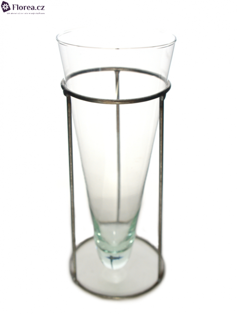 Skleněná váza CONE + stojan d9cm v24cm