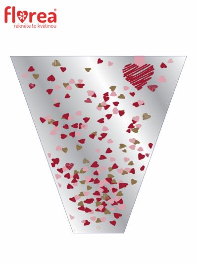 Celofánový obal Confetti Love 60x35x12cm red/pink