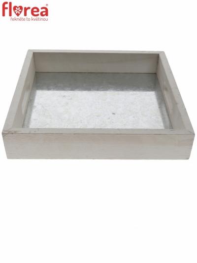TRAY WOOD GLYNN WHITE 27,5x27,5cm