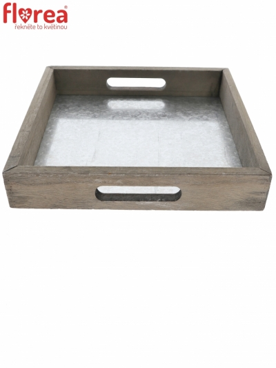 TRAY WOOD GLYNN GREY 27,5x27,5cm