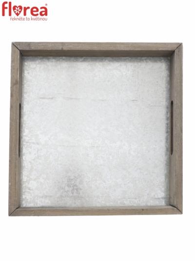 Dřevěný tác šedý GLYNN 27,5x27,5cm