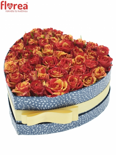 Krabička červenožlutých růží FIRE FLASH modrá 19x9cm