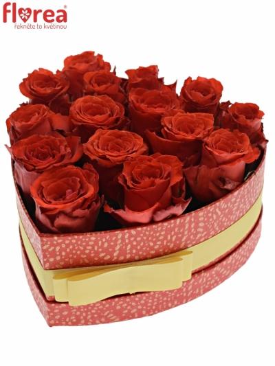 Krabička červených růží BRIGHT TORCH červená 19x9cm