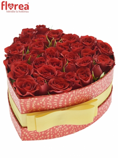 Krabička červených růží MIRABEL červená 15x8cm