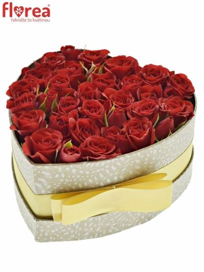 Krabička červených růží MIRABEL šampaň 15x8cm