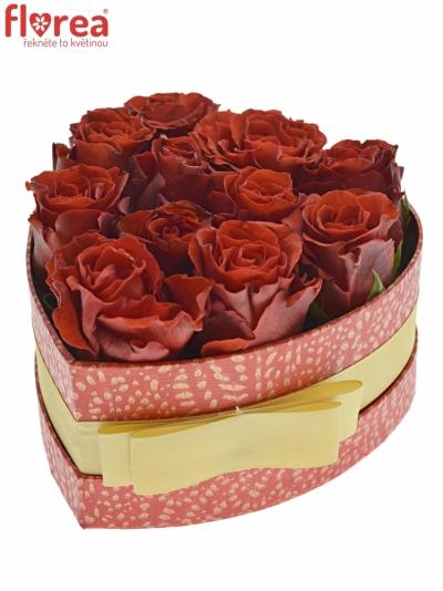 Krabička červených růží RED CORVETTE červená 15x8cm