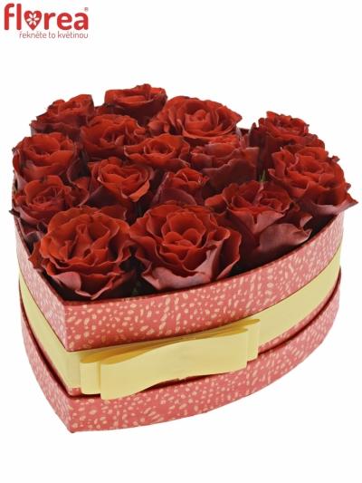 Krabička červených růží RED CORVETTE červená 19x9cm
