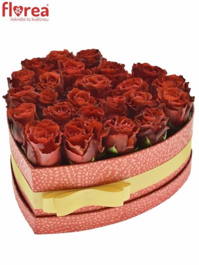 Krabička červených růží RED CORVETTE červená 24x10cm