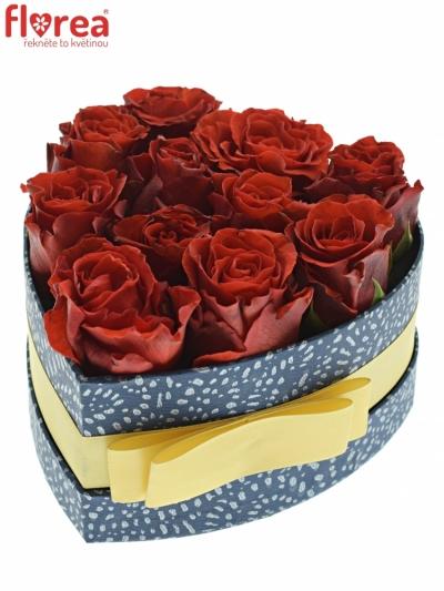 Krabička červených růží RED CORVETTE modrá 15x8cm