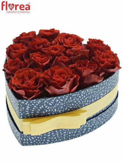 Krabička červených růží RED CORVETTE modrá 19x9cm