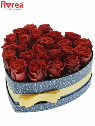 Krabička červených růží RED CORVETTE modrá 24x10cm