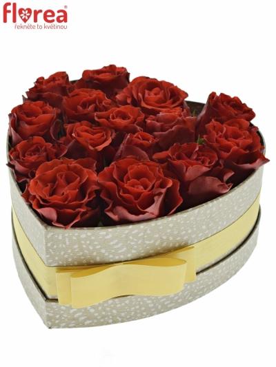 Krabička červených růží RED CORVETTE šampaň 19x9cm