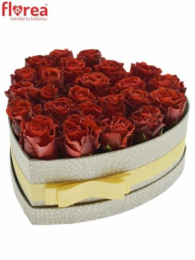 Krabička červených růží RED CORVETTE šampaň 24x10cm