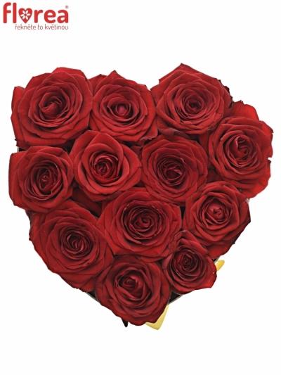 Krabička červených růží RED NAOMI červená 19x9cm