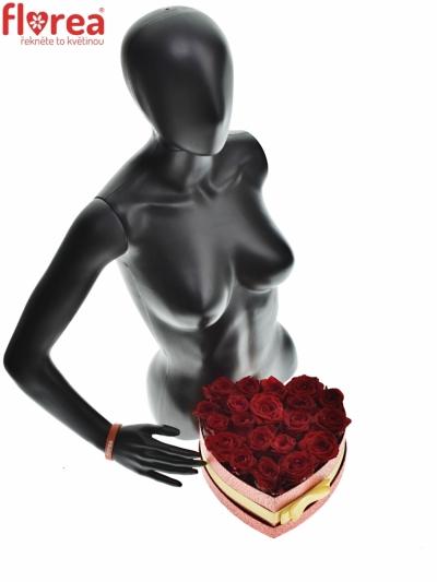 Krabička červených růží RED NAOMI červená 24x10cm