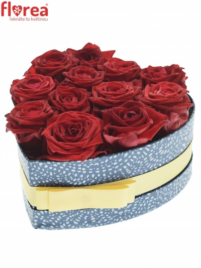 Krabička červených růží RED NAOMI modrá 19x9cm