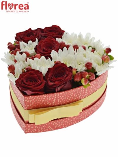 Krabička květin ALETHA červená 19x9cm