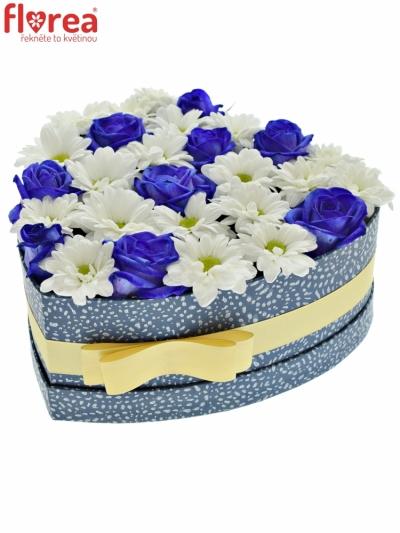 Krabička květin BANDOLINA modrá 24x10cm