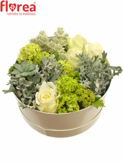 Krabička květin bílá MARGERET Ø20v10cm