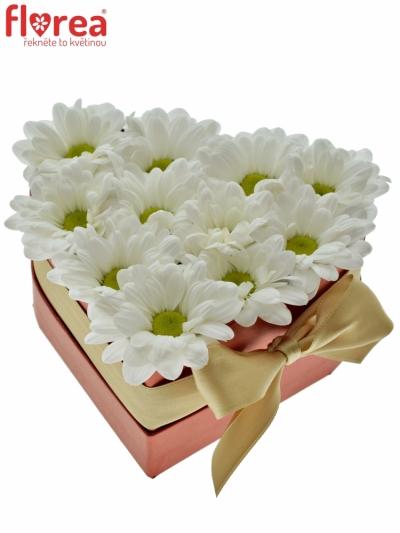 Krabička květin srdce červené HAGNE 14x6cm