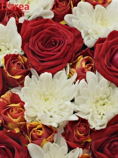 Krabička květin INGRIT červená 24x10cm