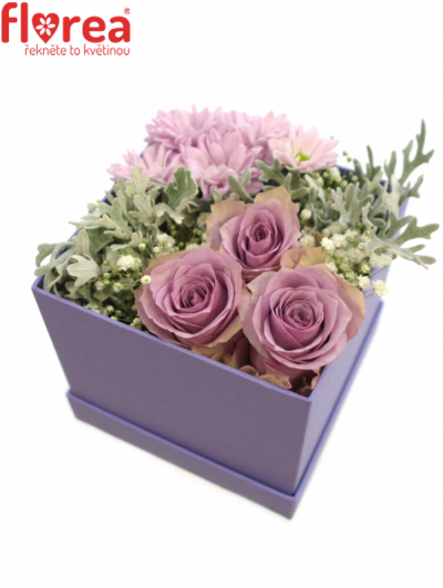 Krabička květin lila MARIS 12x12x11cm