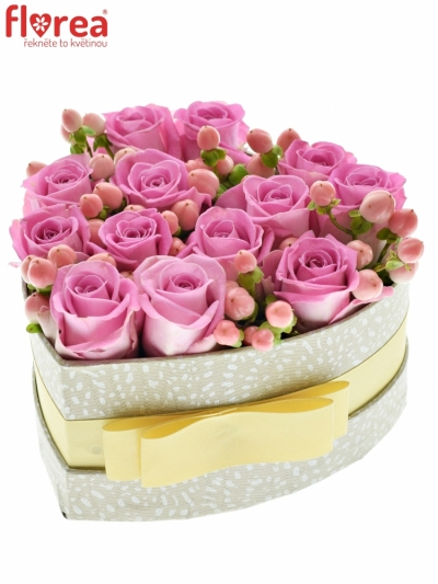 Krabička květin PINK KITTY šampaň 15x8cm