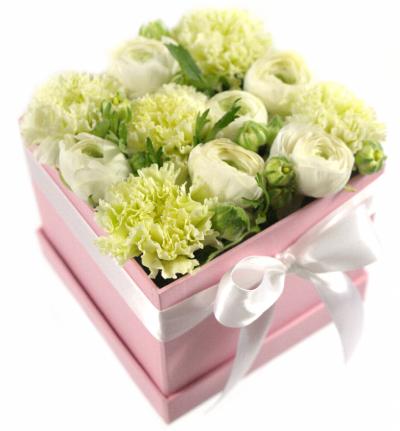 Krabička květin růžová JACINTHA 12x12x11cm