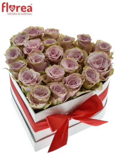 Krabička květin srdce bílé GENKEI 16x9cm