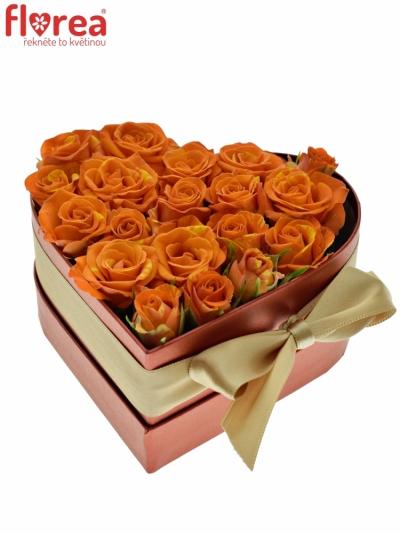 Krabička květin srdce červené GAVRILA 14x6cm