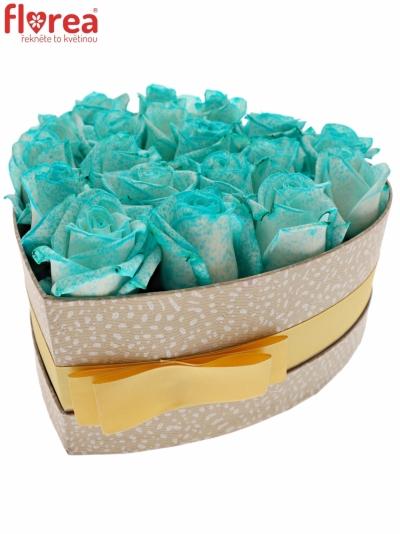 Krabička ledově modrých růží ICE BLUE VENDELA šampaň 19x9cm