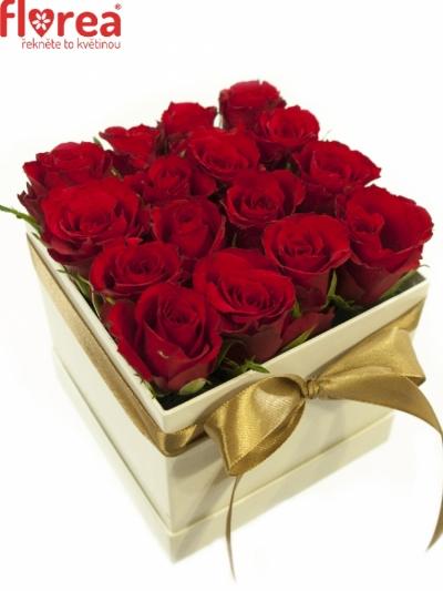 Krabička růží bílá LENNAN 12x12x11cm