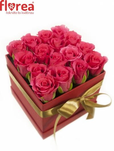 Krabička růží červená LEUCOTHIA 12x12x11cm