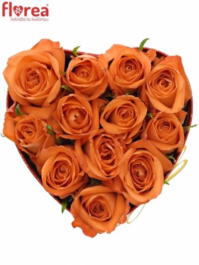Krabička oranžových růží COPACABANA červená 15x8cm