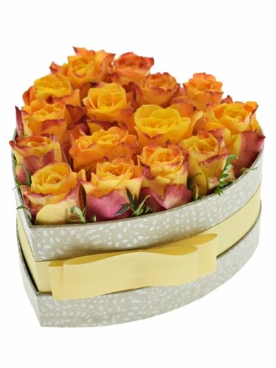 Krabička oranžových růží SOMBRERO šampaň 15x8cm