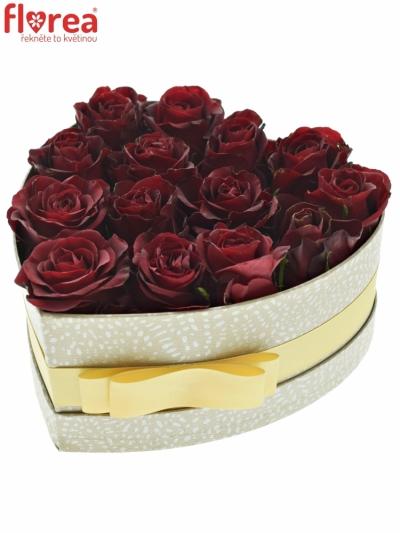 Krabička rudých růží BURGUNDY šampaň 19x9cm