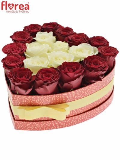 Krabička růží HEARTDOOS červená 24x10cm