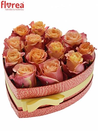 Krabička oranžových růží 3D červená 24x10cm