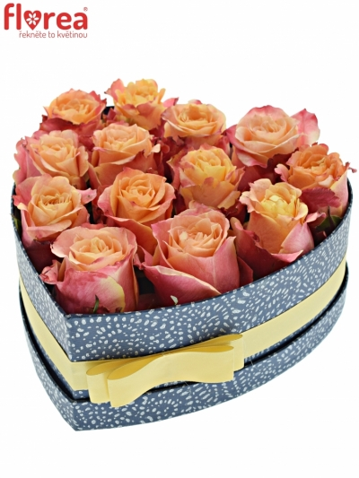 Krabička růží 3D modrá 24x10cm
