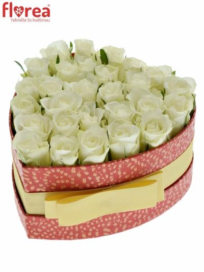 Krabička bílých růží ASPEN! červená 15x8cm